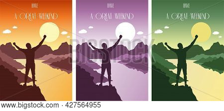 Happy Man Stands On A Hill By The River Set Of Postcards. Silhouette Of A Man In The Rays Of The Sun