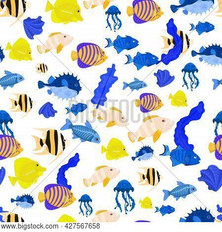 Marine Life Seamless Pattern. Angelfish, Shell, X-ray Fish, Pufferfish.
