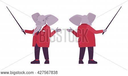 Elephant Man, Elegant Mister, Animal Head Stylish Human With Pointer. Dressed Up Gentleman, Large Tr
