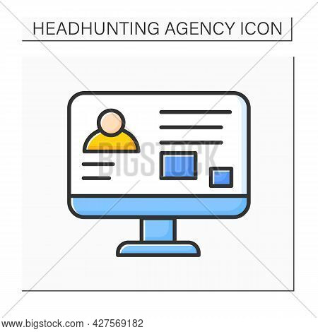 Profile Color Icon.person Description. Personal Information, Hobby, Picture, Goals And Inspiration.h