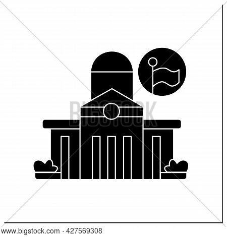 Public Office Glyph Icon. Classical Architecture Public Office Capitol Building. Local Authorities H