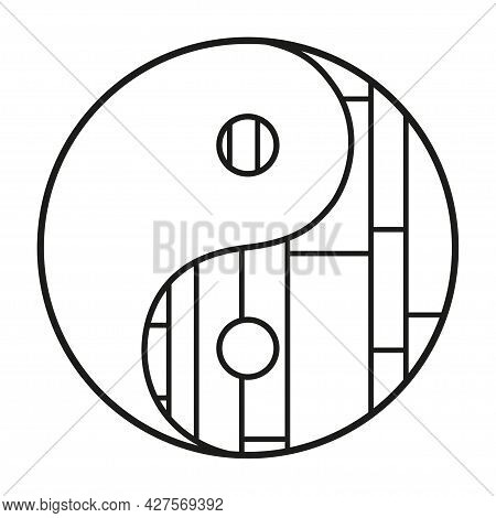 Yin And Yang. Hand Drawn Religious Symbol On Isolated Background. Black And White Illustration