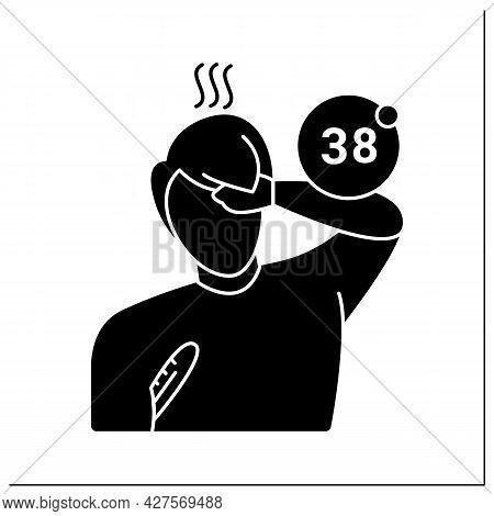 Fever Glyph Icon.male Person Having Heat And Measuring Body Temperature. Flu, Sun Stroke And Infecti