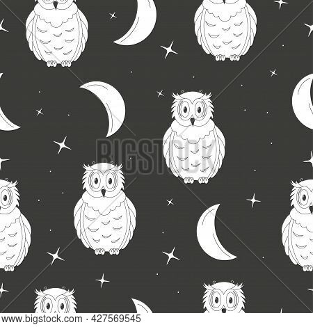 Cute Outline Owl With Crescent And Stars. Seamless Pattern On Black Background. Vector Illustration