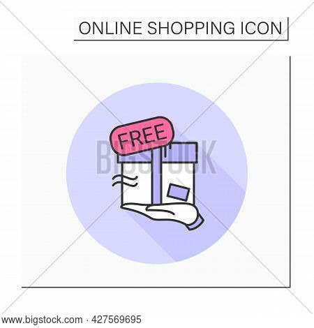Free Product Delivery Color Icon. Free And Fast Transportation Service For Online Shop, Food And Clo