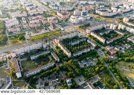 Aerial View Of Urban Development, Houses Built In The Shape Of Three Sixes 666 In The City Of Obnins