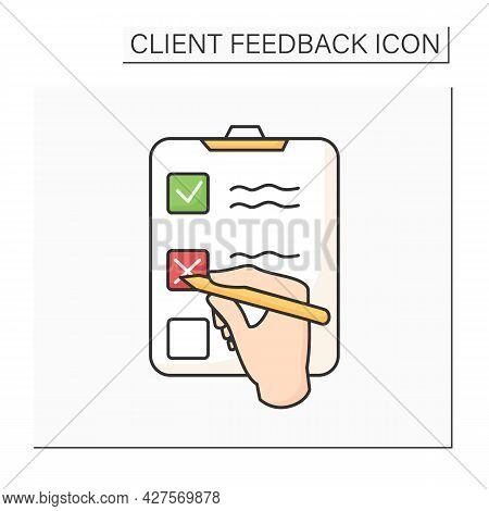 Consumer Survey Color Icon. Hand Choice Multiple Option Answer. Marketing Strategy Research, Custome