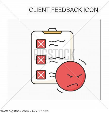Negative Opinion Survey Color Icon. Clipboard And Unhappy Client. Marketing Research, Consumer Exper