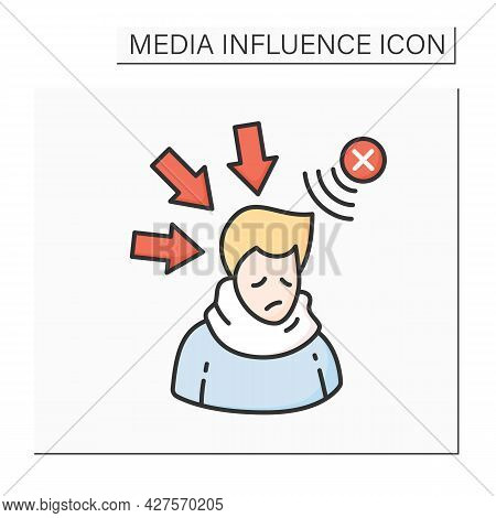 Negative Influence Color Icon. Person Depressed And Upset With Negative Media Influence And Bad Pres