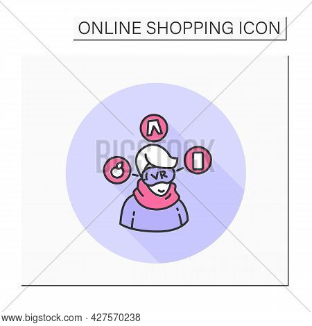 Virtual Showroom Color Icon. Customer In Vr Glasses. Online Shopping And E-commerce Concept. Virtual