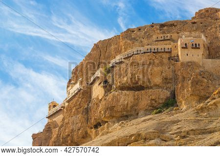 The Monastery Of The Temptation And The Mount Of Temptation In Jericho, Palestine. Greek Orthodox Mo