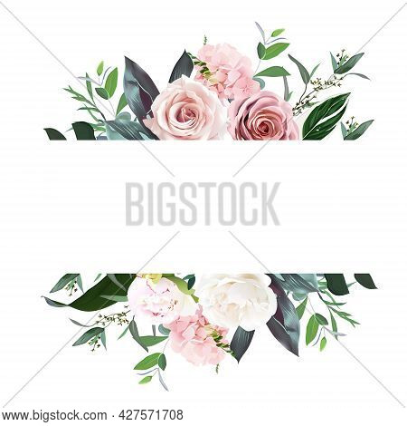Dusty Pink And Cream Rose, Peony, Hydrangea Flower, Tropical Leaves Vector Design Wedding Banner