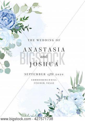 Dusty Blue Rose, White Hydrangea, Ranunculus, Anemone, Eucalyptus Vector Design Frame