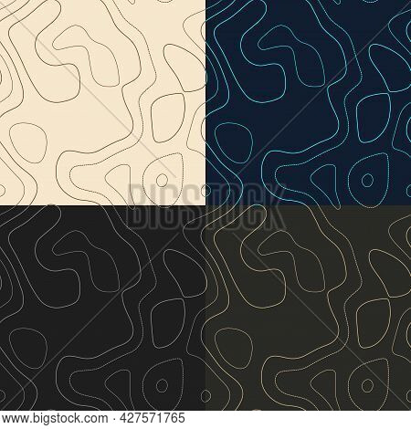 Topography Patterns. Seamless Elevation Map Tiles. Awesome Isoline Background. Radiant Tileable Patt