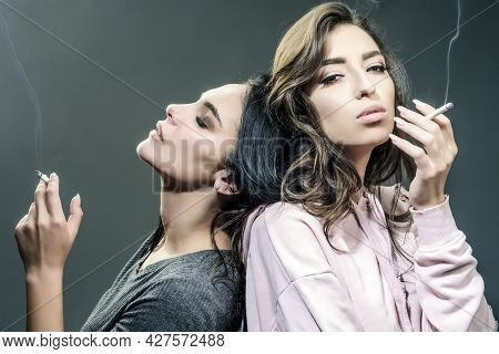 Smoking Addiction. Actual Social Problem. Drug Addict Or Medical Abuse Concept. Two Sad Woman With D