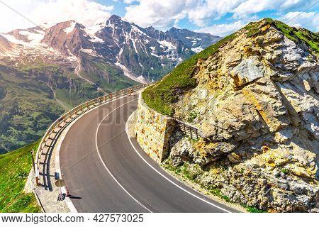 Grossglockner High Alpine Road, German: Grossglockner-hochalpenstrasse. High Mountain Pass Road In A