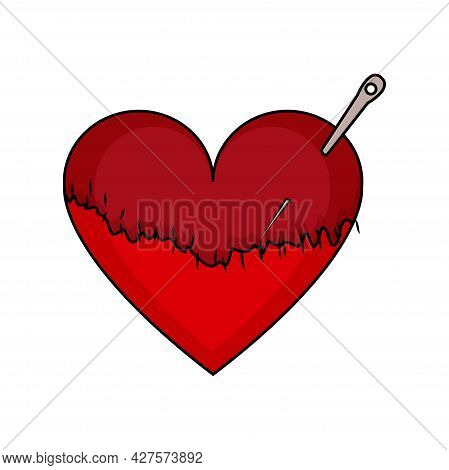 Isolated Heart Shape Sketch With A Stitch Vector