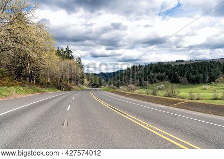 Oregon Empty Road. Summer Route. Travel Way With Landscape. Highway Road Among Forest. Roadway