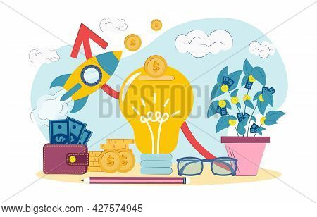 Concept Of Financial Contribution To Innovation. Venture Capital, Investment, Financing, Big Profit,
