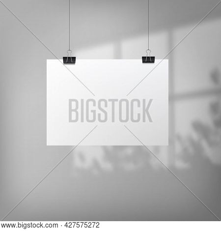 Abstract Poster Design With Hanging Paper. Hanging Paper Poster Mockup.