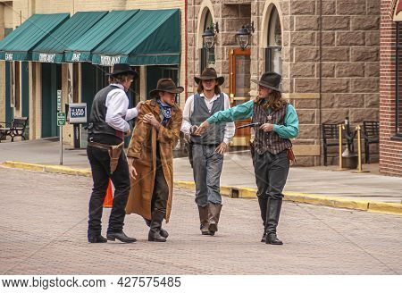 Deadwood Sd, Usa - May 31, 2008: Downtown Main Street. Bad Guy Is Arrested By Sheriff After Shootout