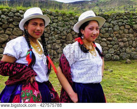 Chobshi, Ecuador - June 20, 2021: Celebration Inti Raymi, In Ruins Of Chobshi Archeological Site. Tw