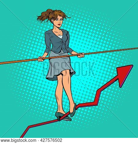 Businesswoman Acrobat Goes On A Growth Schedule. Sales Business
