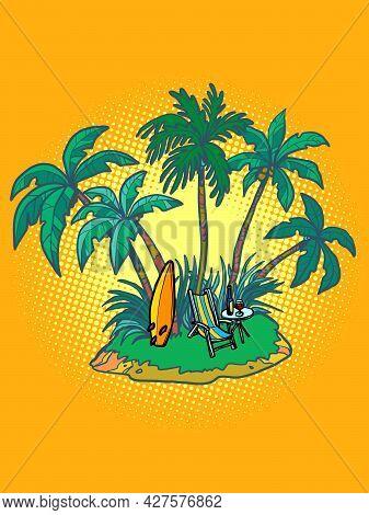 Tropical Island With An Umbrella And A Sun Lounger