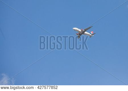Belgrade, Serbia - May 2, 2020: Airbus A319 Belonging To Air Serbia Getting Ready To Land In Belgrad