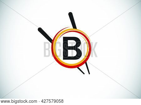 Initial B Monogram Alphabet In The Abstract Circle With Chopstick. Abstract Asian Sushi Bar Emblem.