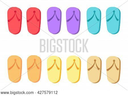 A Collection Of Colorful Sandal Illustrations With Various Bright And Beautiful Color Variants