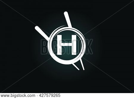 Initial H Monogram Alphabet In The Abstract Circle With Chopstick. Abstract Asian Sushi Bar Emblem.