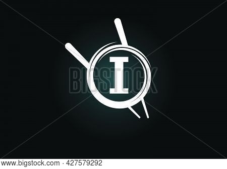 Initial I Monogram Alphabet In The Abstract Circle With Chopstick. Abstract Asian Sushi Bar Emblem.