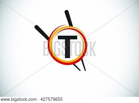 Initial T Monogram Alphabet In The Abstract Circle With Chopstick. Abstract Asian Sushi Bar Emblem.