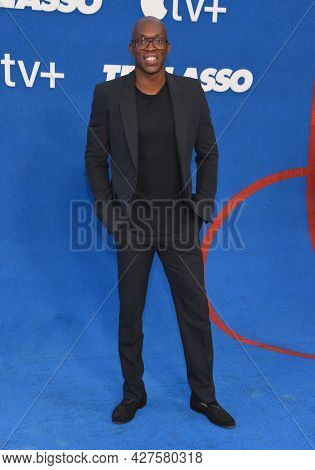 LOS ANGELES - JUL 15: Moe Jeudy-Lamour arrives for the Ted Lasso Season 2 Premiere on July 15, 2021 in West Hollywood, CA