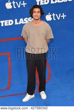 LOS ANGELES - JUL 15: Charles Melton arrives for the Ted Lasso Season 2 Premiere on July 15, 2021 in West Hollywood, CA