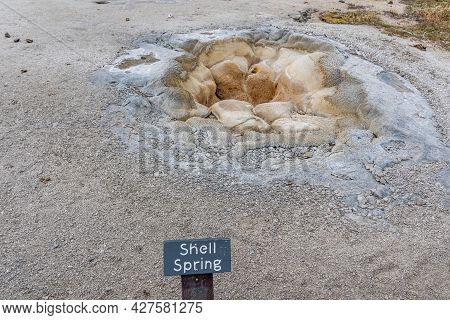Yellowstone Np, Wy, Usa - August 1, 2020: The Shell Spring