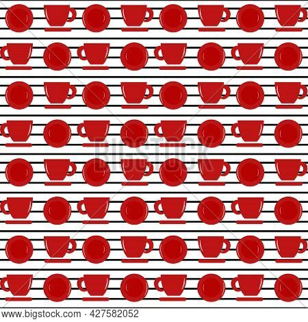 Striped Pattern With Red Cups And Plates. Vector Illustration. For Menus, Cafes And Restaurants, Fly
