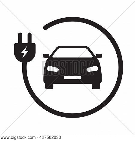 Ev Electric Car With Plug Icon Vector Green Energy Concept For Graphic Design, Logo, Web Site, Socia