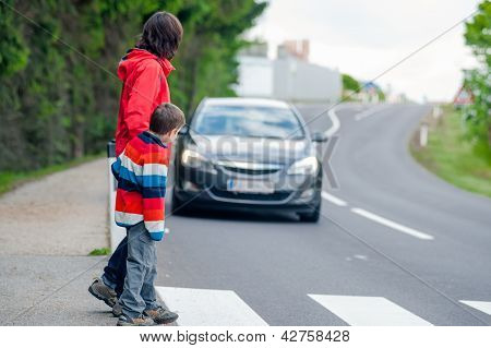 Car stopped for pedestrian