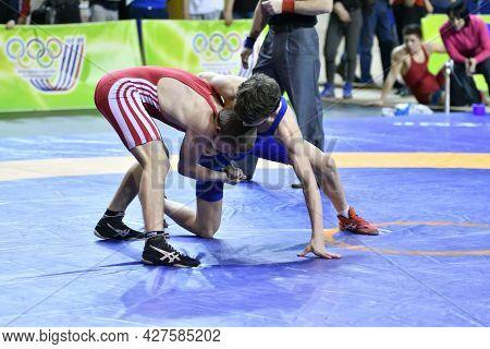 Orenburg, Russia - March 15-16, 2017: Boys Compete In Sports Wrestling