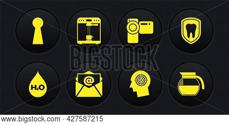 Set Water Drop With H2o, Dental Protection, Mail And E-mail, Head Hunting Concept, Cinema Camera And