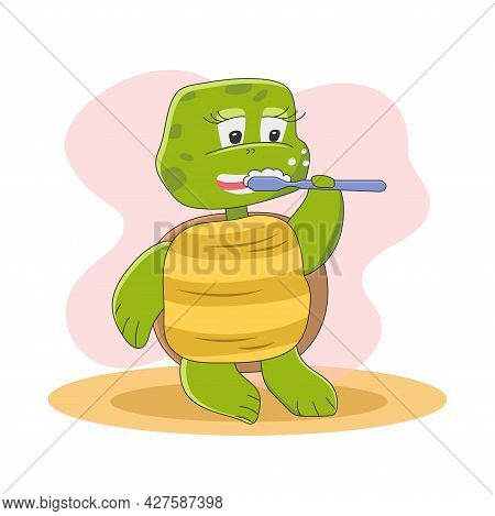 Cute Turtle Character Is Standing And Brushing His Teeth With A Toothbrush. Funny Animals In Cartoon