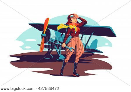 Female Aviator Holding Wrench Instrument Vector Illustration. Woman Pilot In Costume Flat Style. Rep