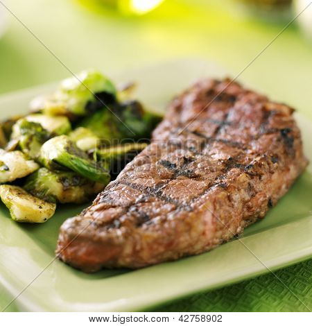 grilled new york strip steak with brussel sprouts