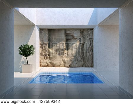 Courtyard in modern style with swimming pool and rock wall. 3D illustration, rendering.