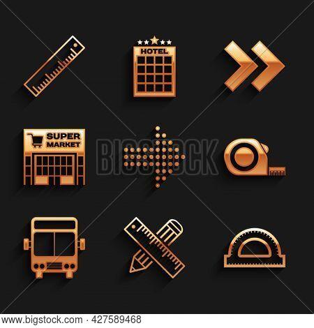 Set Dots Arrow, Crossed Ruler And Pencil, Protractor Grid, Roulette Construction, Bus, Supermarket B