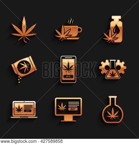 Set Online Buying Marijuana, Test Tube With, Marijuana Or Cannabis Seeds, Leaf Oil And Icon. Vector
