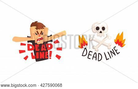 Deadline Set, Time Management, Fast Time, Stressed Office Worker Working Overtime Cartoon Vector Ill