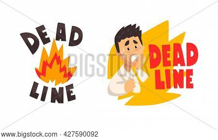 Deadline Set, Stressed Office Worker Working Overtime, Time Management Concept Cartoon Vector Illust